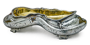 Tiffany & Co. Japanesque mixed metal centerpiece designed by Edward C. Moore, 1880. Estimate $80,000-$120,000. Image courtesy of Rago.