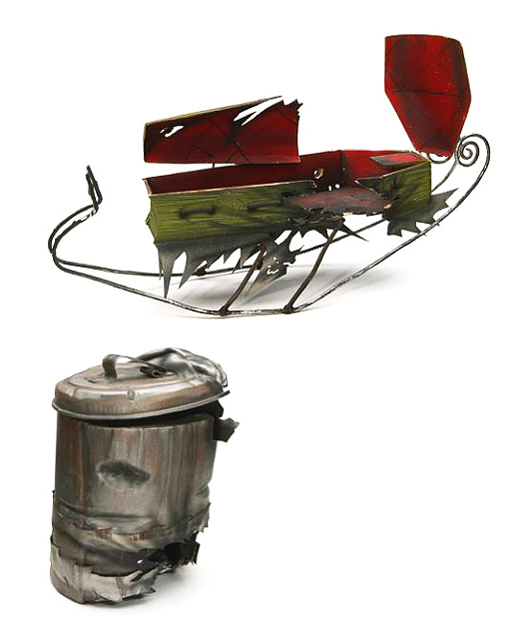 From Tim Burton's 'The Nightmare Before Christmas.' this is a Santa Jack sled. Screen-used for the sequence when Santa Jack is shot down out of the sky by artillery shells. Premiere Props image.