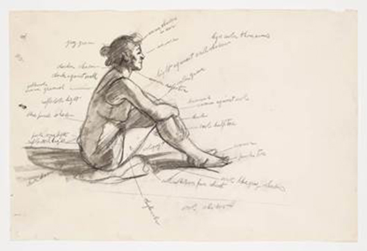 Edward Hopper, 'Study for Morning Sun,' 1952, fabricated chalk and graphite pencil on paper, Whitney Museum of American Art, New York; Josephine N. Hopper Bequest 70.291 © Heirs of Josephine N. Hopper, licensed by Whitney Museum of American Art, N.Y.
