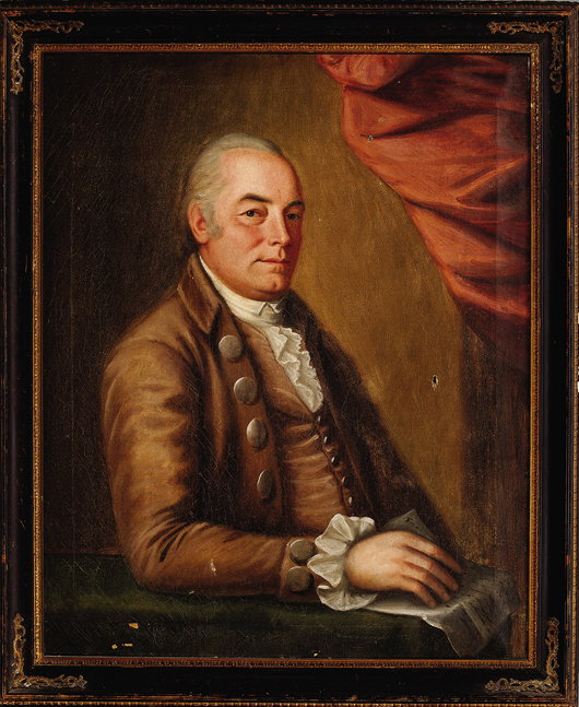 Lot 185: Attributed to John Johnston (American/Boston, 1753-1818), 'Henry Howell Williams (1736-1802),' c. 1790, oil on canvas, 36 in. x 29 1/2 in. Estimate: $3,000-$5,000. Neal Auction Co. image.