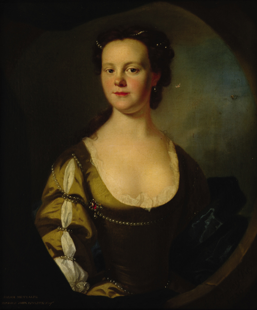 Lot 186: Allan Ramsay (British, 1713-1784), 'Sarah Metcalfe Affleck,' 1739, oil on canvas, 30 3/8 in. x 25 3/8 in. Estimate: $12,000-$18,000. Neal Auction Co. image.