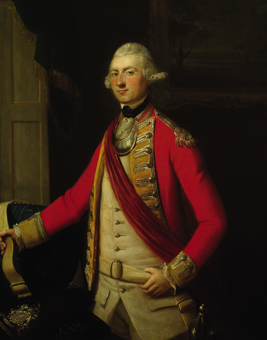 Lot 511: Attributed to David Martin, FSA (British, 1737-1797), 'Lieutenant John Ross of the 34th Foot (Cumberland) Company,' c. 1769, oil on canvas, 49 1/2 in. x 40 in. Estimate: $40,000-$60,000. Neal Auction Co. image.