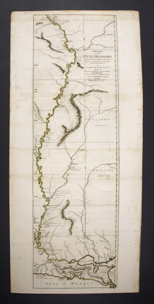 Lot 512: Lieutenant John Ross (British, fl. 1762-1789), 'Course of the River Mississipi, from the Balise to Fort Chartres …' London, 1775, sheet 45 3/4 x 21 1/4 in. Estimate: $4,500-$6,500. Neal Auction Co. image.
