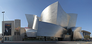 Diane Disney Miller was instrumental in pushing ahead with the Walt Disney Concert Hall in downtown Los Angeles and staunchly defended the visionary design of architect Frank Gehry. The Disney family contributed more than $100 million to the project, which was completed in October, 2003. Photo by John O'Neill, licensed under the terms of the GNU Free Documentation License, Version 1.2.