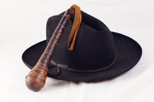 Sheriff Eugene W. Kay's Stetson and blackjack. Estimate: $1,000-$1,500. California Auctioneers image.
