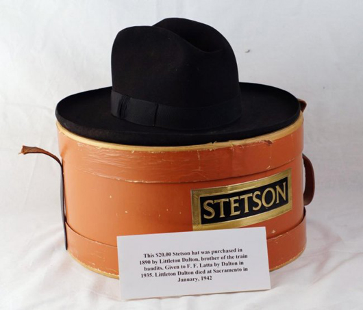 Littleton Dalton's Stetson hat, purchased for $20 in 1890. Estimate: $1,500-$2,500. California Auctioneers image.