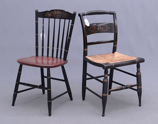 The styles of Hitchcock chairs have changed little in 195 years. Image courtesy of LiveAucitoneers.com Archive and Copake Auction Inc.