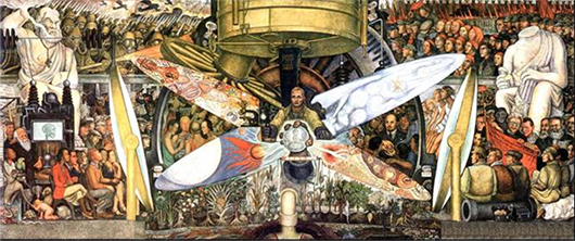 The recreated version of the Rivera painting originally known as 'Man at the Crossroads.' Image by Gumr51. This file is licensed under the Creative Commons Attribution-Share Alike 3.0 Unported license.