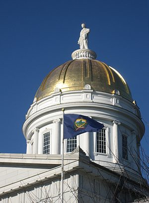 Dome of the Vermont Statehouse, topped by a statue of Ceres. Photo by Jim Hood, licensed under the Creative Commons Attribution-Share Alike 2.5 Generic license.