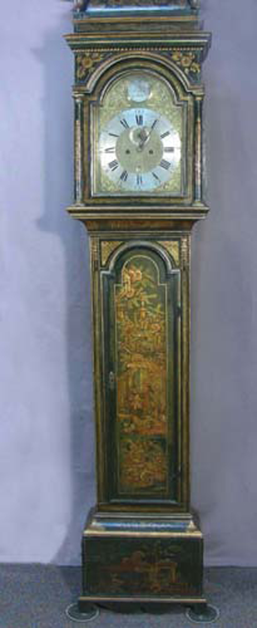 George III Green Lacquer Long-Case Clock, Signed on Face 'Robert Gratrese, London,' Circa 1770, 91in h., 19 ½in w., 9in deep. Chamberlain's image.