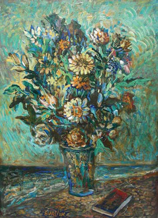 David Burliuk (Ukranian, 1882-1967), Oil on Board, 'Flowers,' Signed, Image 24in x 20in. Chamberlain's image.