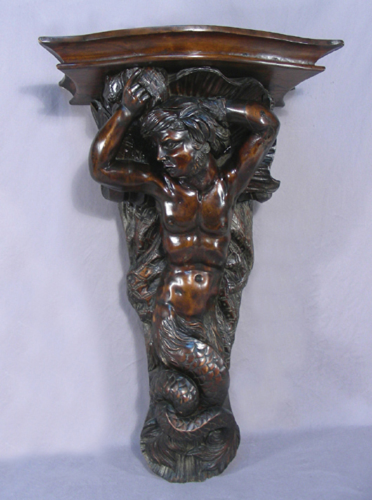Early 19th Century Hand-Carved Wooden Figural Wall Shelf, 33in h., 19 1/2in w., 14in diameter. Chamberlain's image.