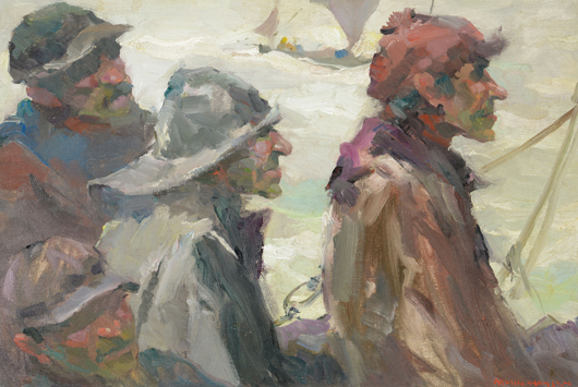 Armin Carl Hansen (Californian 1886-1957) Norwegian Fishermen Oil on artist canvas board Estimate: $40,000 / 60,000. Image courtesy of Michaan's.