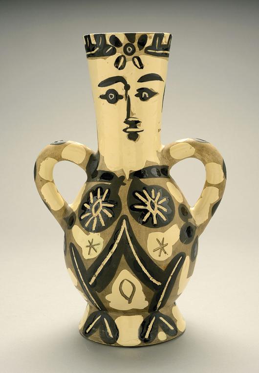 Pablo Picasso (Spanish 1881-1973) Vase deux anses hautes, 1952 Estimate: $20,000 / 25,000. Image courtesy of Michaan's.
