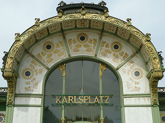 Detail of Secessionist architect Otto Wagner's Jugendstil train station in Karlsplatz, Vienna. Photo by Heidi Lux.