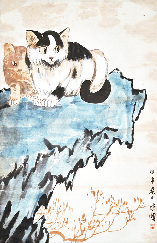 Xu Beihong'Two Cats,' ink and color on paper, signed Beihong, with one artist seal, dated 1944.Estimate: $60,000-$80,000. Gianguan Auctions image.