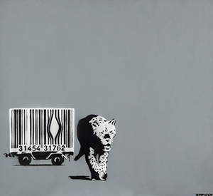 A unique variant from Banksy's Barcode Leopard series is this signed and authenticated painted canvas, 33.6 inches x 36.6 inches. Estimate: £80,000-£120,000. Dreweatts & Bloomsbury image.