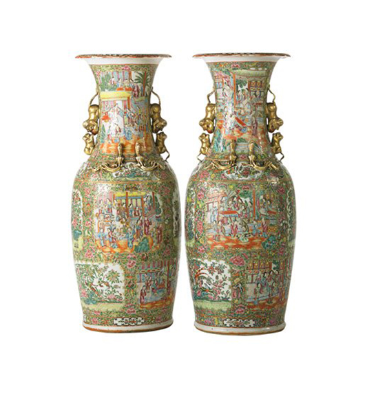 Lot 1258 – Pair of Famille Rose monumental palace vases. Price realized: $12,500. Rago Arts and Auction Center image.