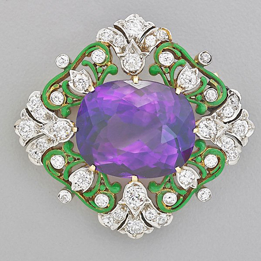 Tiffany & Co. Renaissance Revival quatrefoil brooch with amethysts and diamonds: Price realized: $10,000. Rago Arts and Auction Center image.