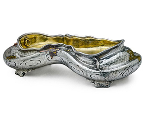 Lot 283 - Tiffany & Co. Japanesque mixed metal centerpiece. Price realized: $117,750. Rago Arts and Auction Center image.