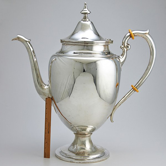 Lot 500 - Immense Gorham 'Puritan' silver coffeepot. Price realized: $18,750. Rago Arts and Auction Center image.