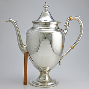 Gorham 'Puritan' silver coffeepot displayed in the office of Gorham's chairman of the board, circa 1925. Estimate: $18,000-$20,000. Rago Arts and Auction Center image.