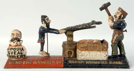 J. & E. Stevens 'Breadwinners' cast-iron mechanical bank. Est. $12,000-$18,000. Morphy Auctions image.