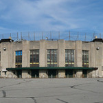 Much of the exterior facade of the former Bush Stadium has been preserved. Pictured is the main gate behind home plate. Image by Xti90. This file is licensed under the Creative Commons Attribution-Share Alike 3.0 Unported license.