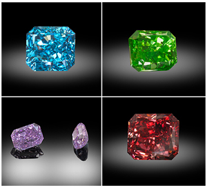 Clockwise from top left: Vivid greenish-blue radiant cut .92 carat diamond, vivid yellowish-green 1.01 carat diamond, vivid purple .81 carat diamond, rare fancy red diamond. All images by Zach Colodner, courtesy Optimum Diamonds.