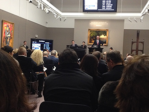 Mark Poltimore, chairman of Sotheby's Russia, conducts proceedings at Sotheby's sale of important Russian Art in London on Nov. 25. Image Auction Central News