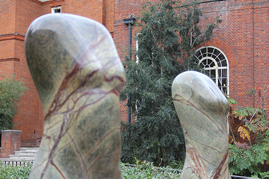 British sculptor Paul Vanstone's polished stone torsos on display the Royal Geographical Society in Kensington. Image courtesy Paul Vanstone and the Royal Geographical Society.