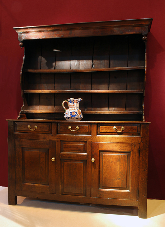 This Llanrwst oak dresser, circa 1730, was sold by Melody Antiques of Chester for £8,000 ($13,000) at the Antiques for Everyone Fair in early November. Image courtesy Antiques For Everyone Fair.