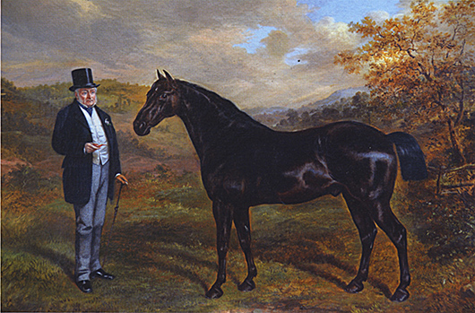 A late nineteenth century oil on canvas, 'Colonel Arthur Hill with his Favourite Hunter,' by Benjamin Cam Norton, 1873, sold by Blackbrook Gallery, Leicestershire, for £5,950 at the Antiques For Everyone Fair at the NEC in November. Image courtesy Antiques For Everyone Fair.