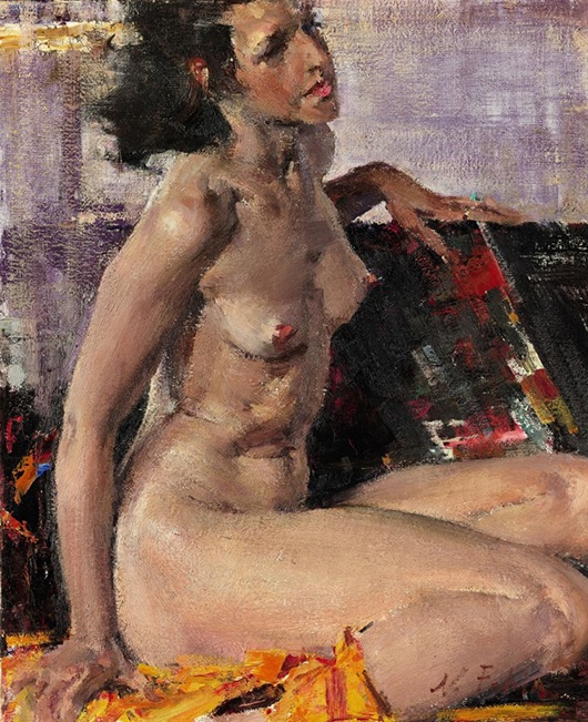 'The largest internet bid I've ever taken,' said Sotheby's Mark Poltimore as he sold Nikolai Fechin's 'Nude' for £1,258,500 ($2.06 million) at Sotheby's Russian sale in London on Nov. 25. Image courtesy of Sotheby's.