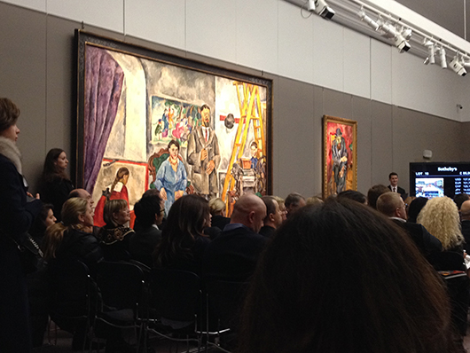 Petr Petrovich Konchalovsky's monumental 'Family Portrait in the Artist's Studio,' and Robert Rafaelovich Falk's 'Man in a Bowler Hat (Portrait of Yakov Kagan-Shabshai),' hanging at Sotheby's on Monday Nov. 25. Both lots were sold by private treaty prior to the auction. Image Auction Central News.