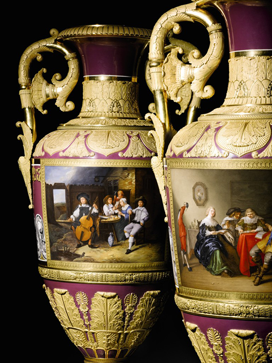 This pair of Russian Imperial porcelain vases fetched £2,210,500 ($3.6 million), the highest price of Sotheby's Russian art week in London. Image courtesy of Sotheby's.