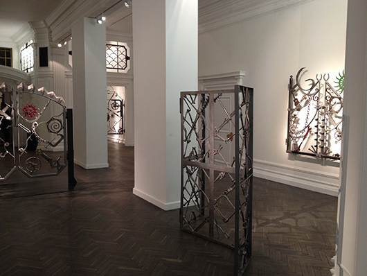 Bob Dylan's welded iron sculptures on display at London's Halcyon Gallery, just opposite Sotheby's in New Bond Street. Image Auction Central News.