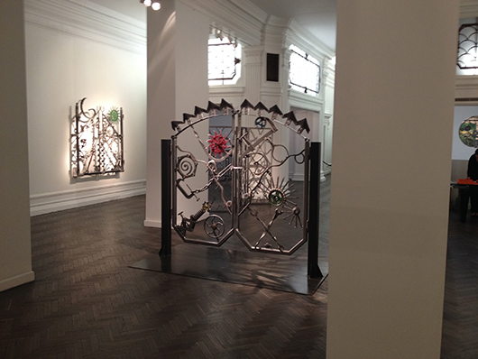 'Mood Swings,' an exhibition of singer Bob Dylan's iron sculpture at Halcyon Gallery in New Bond Street, until Jan. 25. Image Auction Central News.