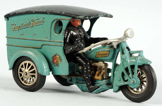 Rare 11in Hubley 'Say It With Flowers' Indian motorcycle toy, cast iron, American. Est. $20,000-$30,000. Morphy Auctions image.