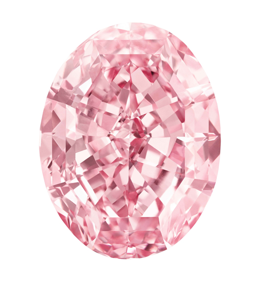 The Pink Star (re-named The Pink Dream by buyer Isaac Wolf, a diamond cutter), a 59.60-carat fancy vivid pink diamond sold at Sothebys, Geneva on November 13, 2013 for $83 million, a world auction record for any jewel. Pre-sale estimate $60 million. Image courtesy Sothebys