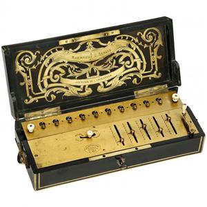 Thomas de Colmar's Arithmomètre (lot 8), sold for 233,600 euros ($313,000). Auction Team Breker image.