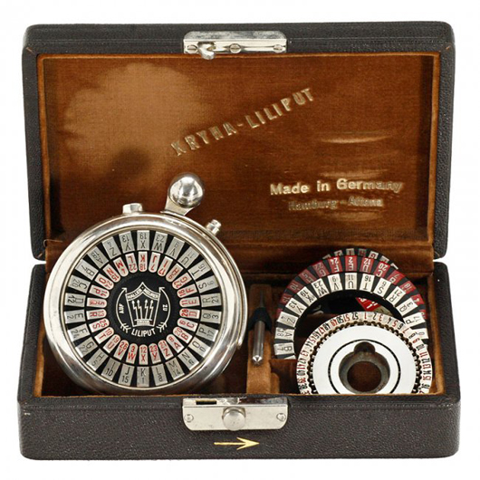 German watch-form Kryha-Liliput cipher device (lot 11) from 1924, in its original case, sold for 9,850 euros ($13,300). Auction Team Breker image.