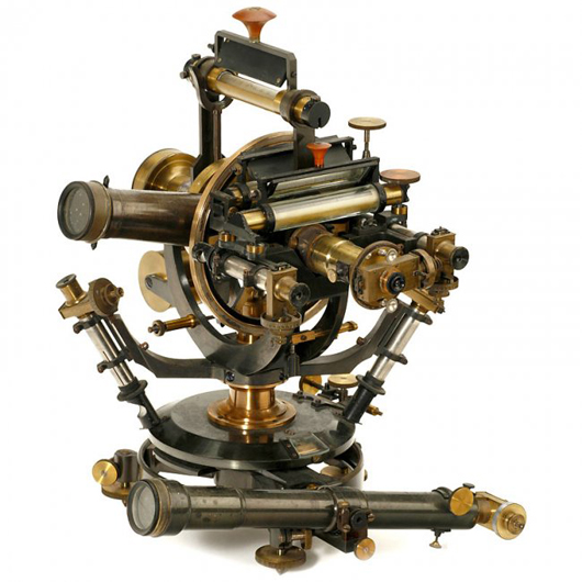 German transit theodolite by Hildebrand of Freiburg sold for many times its estimate at 8,000 euros ($10,800). Auction Team Breker image.