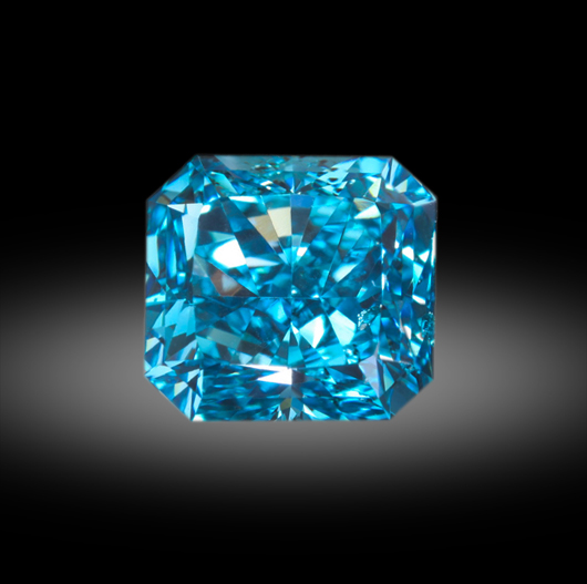 A vivid greenish-blue radiant-cut .92 carat diamond. Zach Colodner image, courtesy Optimum Diamonds
