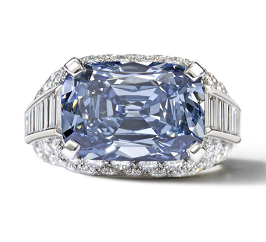 "A fancy deep-blue 5.3 carat diamond set in a Bulgari ""Trombino"" ring, sold in April 2013 for $9.6 million at Bonhams in London to buyer Graff Diamonds of London. Pre-sale estimate $1.3/1.9 million. Image courtesy Bonhams"