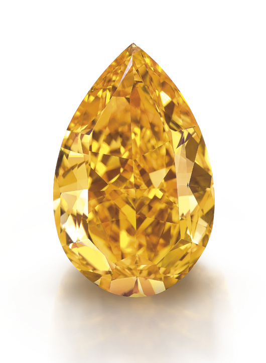 The Orange: a fancy vivid orange diamond of 14.82 carats sold at Christies Geneva on November 12, 2013 for $36 million against a pre-sale estimate $17/20 million. Image courtesy Denis Hayoun Diode SA Geneva