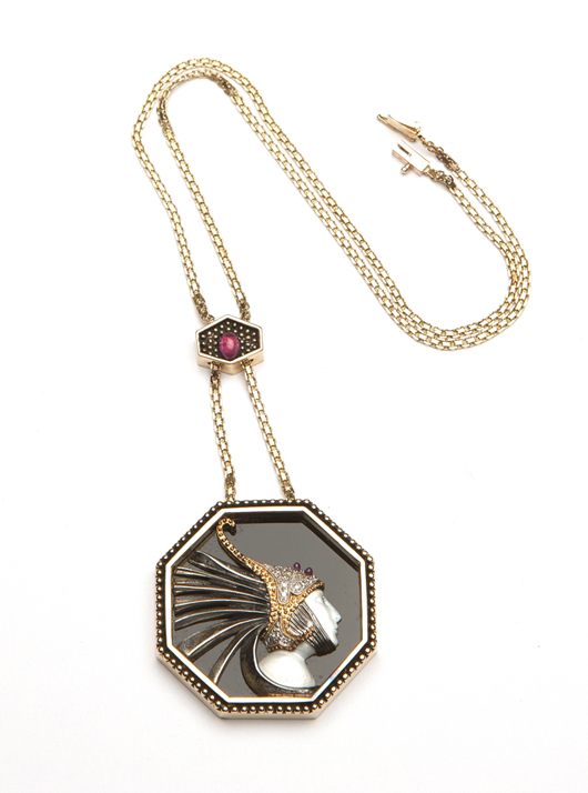 The height of Art Deco elegance, this signed Erté 'Fireflies' pendant necklace is offered with a conservative estimate of $1,000-$1,500. John Moran Auctioneers image.