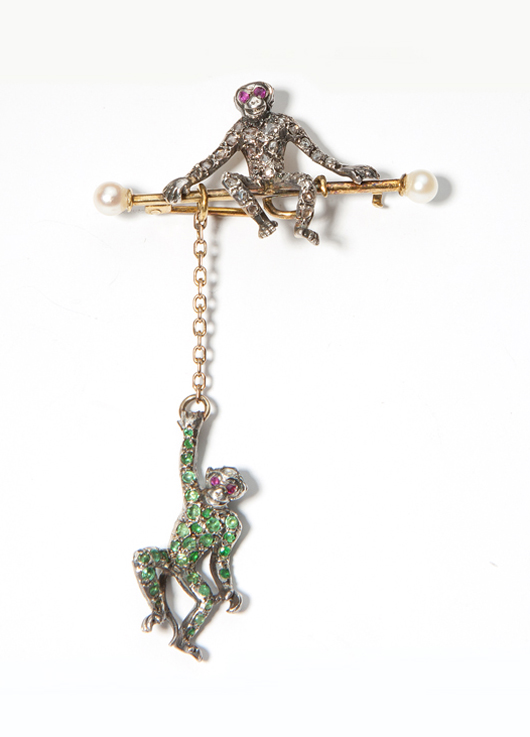 This playful Victorian monkey brooch, estimated at $1,500-$2,000, will be offered at Moran's Dec. 10 auction. John Moran Auctioneers image.