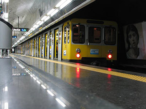 Commuters hook up with with art on Naples metro