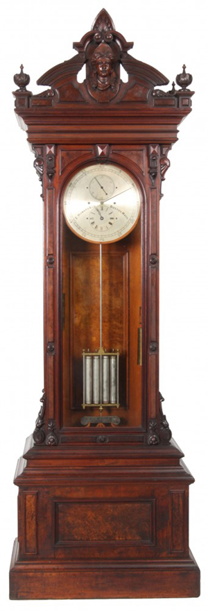 This E. Howard & Co. No. 68 floor standing astronomical regulator sold for a record $277,300. Fontaine's Auction Gallery image.